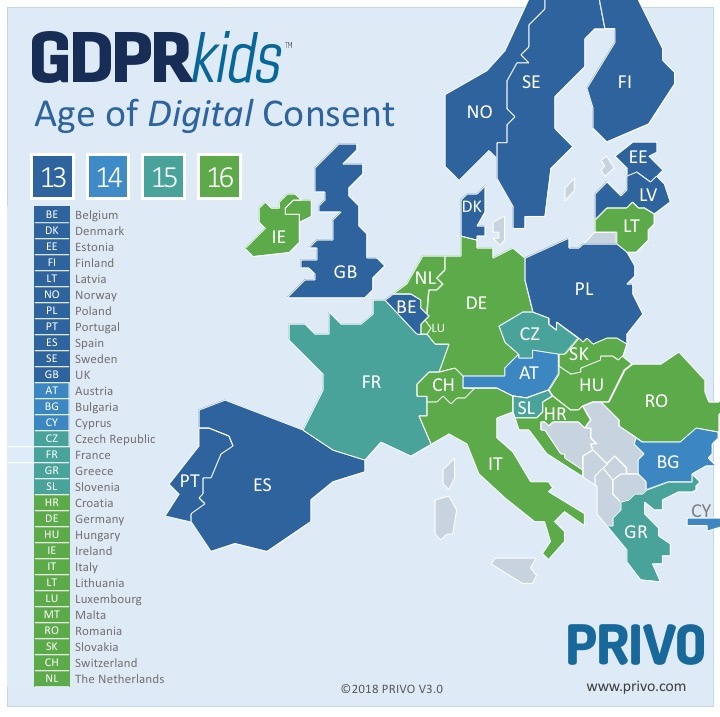 GDPR Age Of Consent Map
